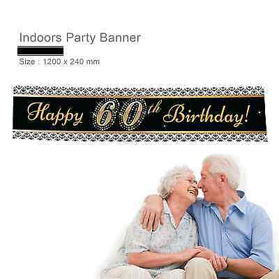 Personalised Happy 60th 21st Birthday Anniversary Gift Idea Canvas Party Banner - 60th Birthday Decorations Ideas
