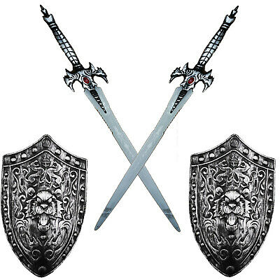 2 x Silber Ritter Set Kinder Weapon Fight - Silber Kinder Kostüme