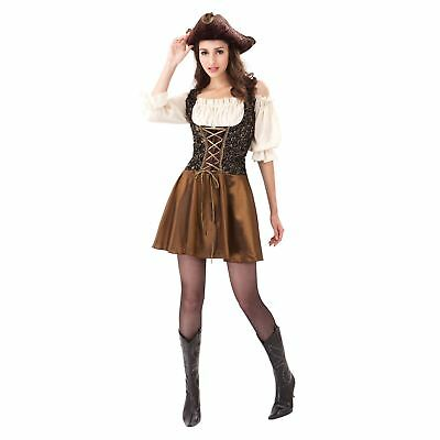Ladies Rose Gold Pirate Costume Steampunk Festival Fancy Dress