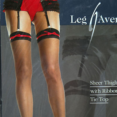 PLUS SIZE CLASSIC SEXY RED OR  PINK RIBBON TIE TOP BLACK STOCKINGS FOR GARTER ()