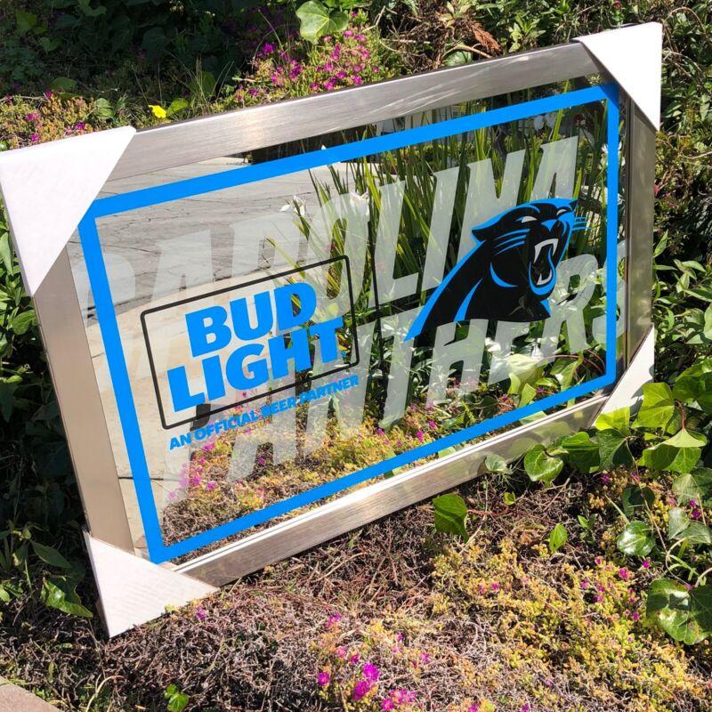 Bud Light NFL Carolina Panthers Football Beer Bar Mirror Man Cave Pub New