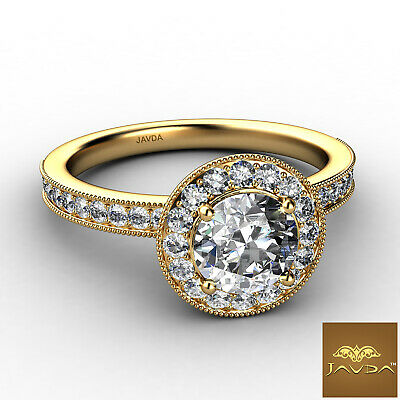 Halo Milgrain Pave Bezel Setting Round Diamond Engagement Ring GIA E VS1 1.22Ct 5
