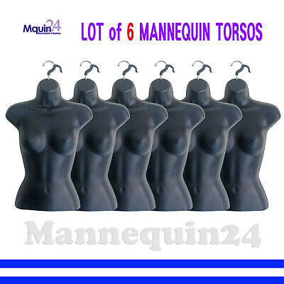 6 Black Mannequin Female Torsos - Lot Of 6 Pcs Of Womens Hanging Dress Forms