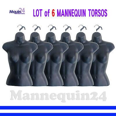 6 Black Mannequin Female Torsos - Lot Of 6 Pcs Of Womens Hanging Dress Forms