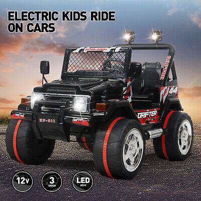 12V Jeep Electric Ride-On Car For Children Parent Control Battery Powered Black