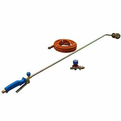 Propane Gas Torch Burner Long Roofer 1000mm Plumber Weed & 5m Hose & Regulator