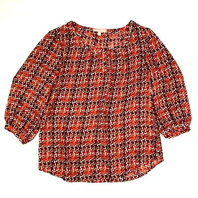 Banana republic abstract houndstooth print 3/4 sleeve blouse red orange small Houndstooth Print Blouse