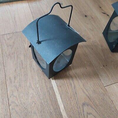 pair black tea light lanterns x2
