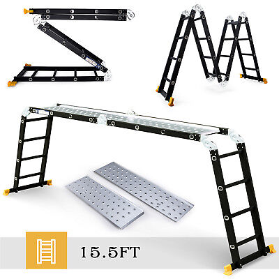 15.5ft Aluminum Multipurpose Ladder Telescoping Folding Extension Platform Black