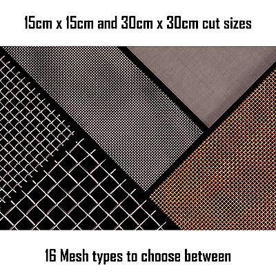 Woven Wire Mesh Sheet 15cm And 30cm Square. Fine Screen - Heavy Duty Coarse