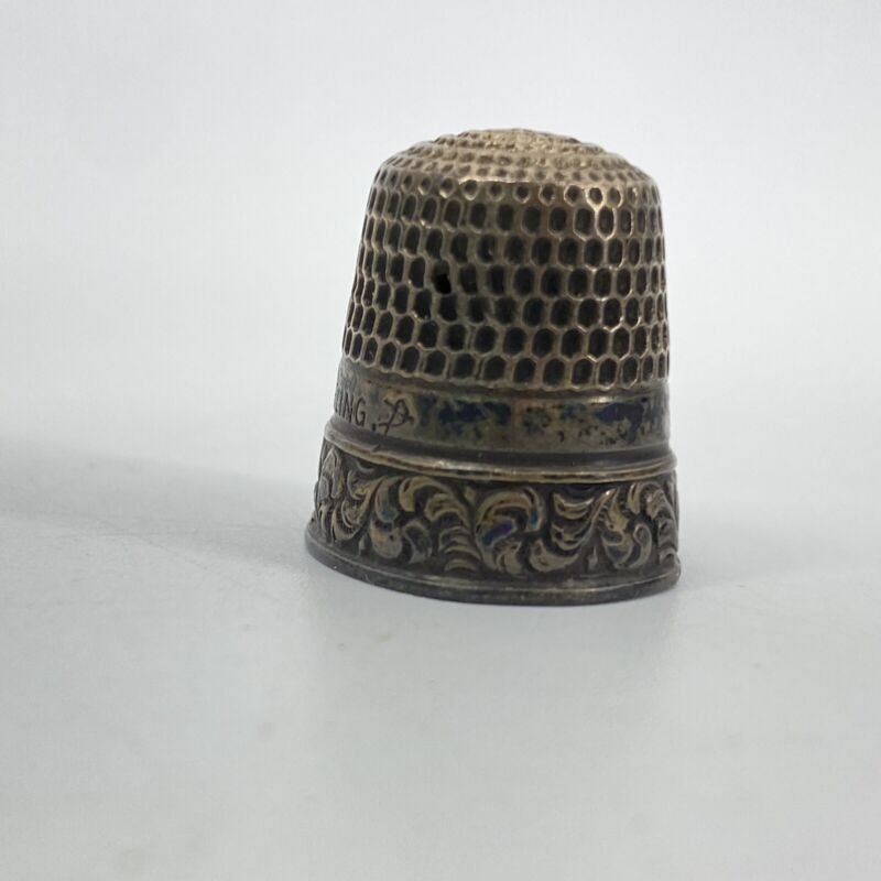 Vintage Sterling Silver Swirl Flourish Design Thimble Marked Signed