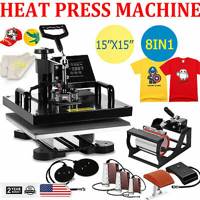 8in1 15x15 Combo T-shirt Heat Press Transfer Machine Mug Plate Hat Swing Away