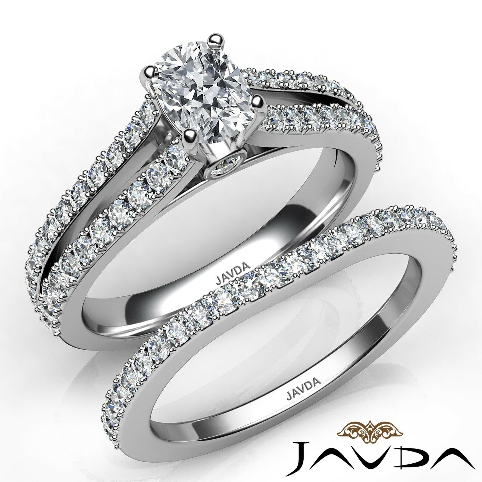 1.74ctw Split Shank Bridal Set Cushion Diamond Engagement Ring GIA H-VS2 W Gold
