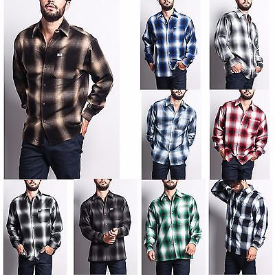 Men's Western Casual Old School Plaid Flannel Long Sleeve Button Up Shirt  (Western Plaid Button)