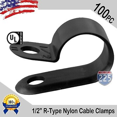 100 Pcs Pack 12 Inch R-type Cable Clamps Nylon Black Hose Wire Electrical Uv