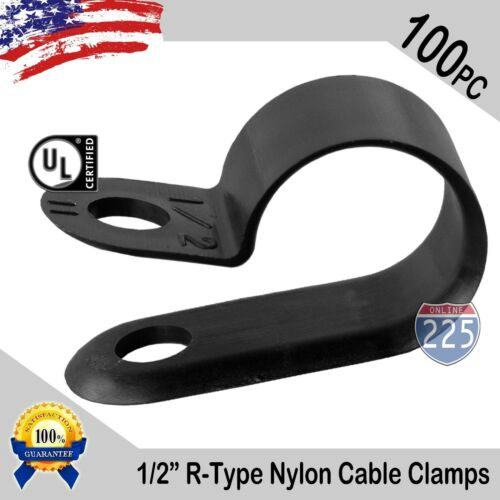 "100 PCS PACK 1/2"" Inch R-Type CABLE CLAMPS NYLON BLACK HOSE WIRE ELECTRICAL UV"