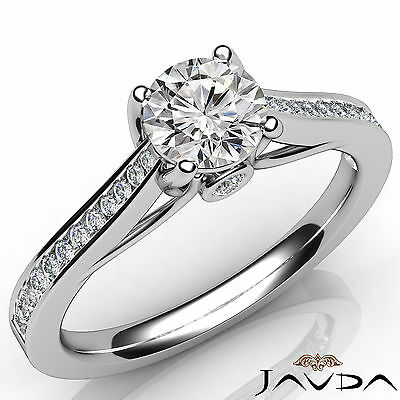 Trellis Style Channel Prong Set Round Diamond Engagement Ring GIA I SI1 1.02 Ct