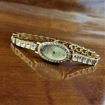New Womens Dainty Oval WALTHAM Swarovski Crystal Accented Bracelet Watch