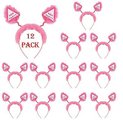 12 X Hen Party Accessories Head Boppers Pink Fluffy Girls Night Out Fancy Dress