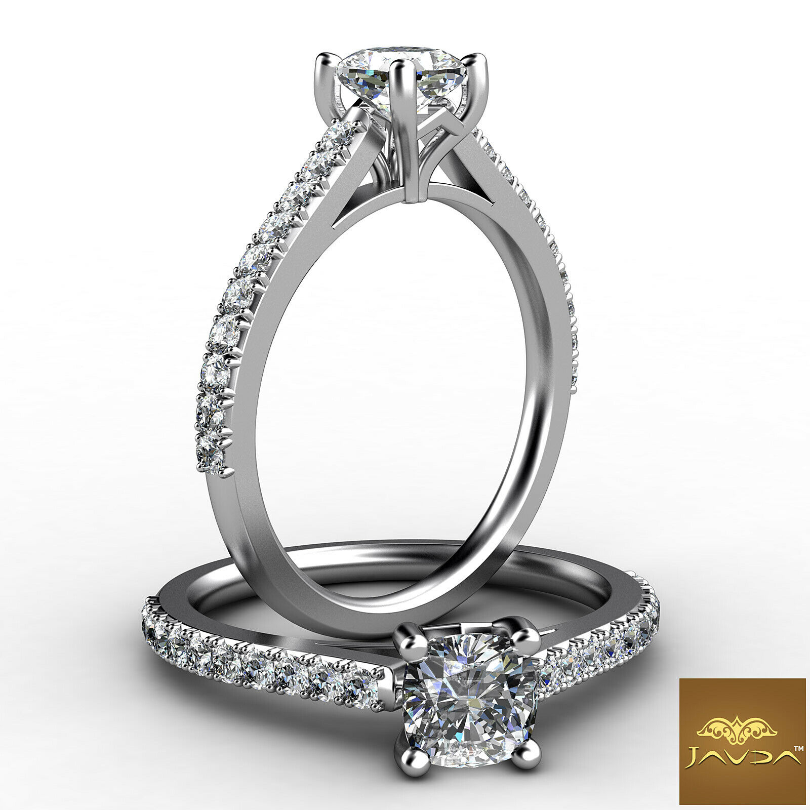 0.94ct Double Prong Setting Cushion Diamond Engagement Ring GIA H-VS2 White Gold