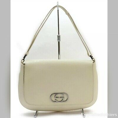 VINTAGE GUCCI HAND BAG LEATHER WHITE with Dust bag