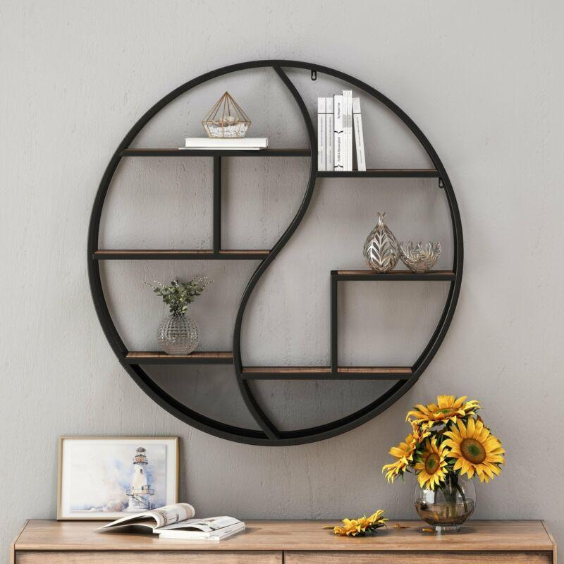 Buckthorn Industrial Circular Firwood Hanging Wall Shelf by