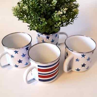 Americana Watercolor Stars & Stripes Enamel Mugs