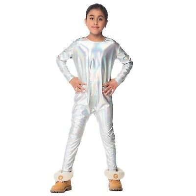 Diy Teen Halloween Costumes (Child Girls Unicorn Iridescent Silver Rainbow Halloween Costume Jumpsuit DIY)