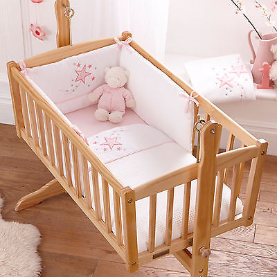 NEW 4BABY TWINKLE PINK ROCKING CRIB / CRADLE 2 PIECE QUILT & BUMPER BEDDING SET