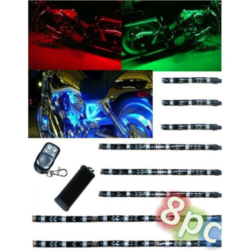 8Pc Motorcycle RGB/Red/Green/Blue/Yellow Glow Lights Flexible LED Strips 12V Kit