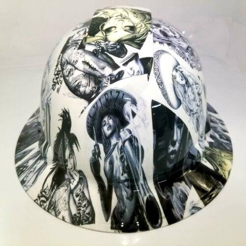 NEW FULL BRIM Hard Hat custom hydro dipped in , VIVA MI RAZA CHICANO TATTOOS