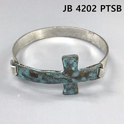 Patina Finished Simple Religiously Inspired Hammered Cross Cuff Bangle Bracelet