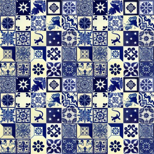 100 4x4 Mexican Talavera Tiles  Blue & White Assorted Designs