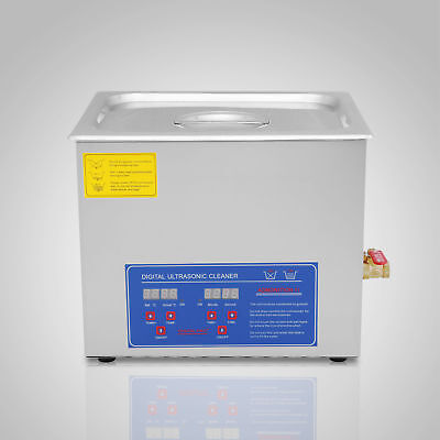 Stainless Steel 10 L Liter Industry Heated Ultrasonic Cleaner Heater Wtimer Top