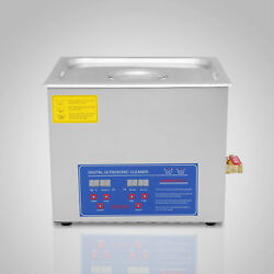 Stainless Steel 10L Liter Industry Heated Ultrasonic Cleaner Heater w/ Timer Top