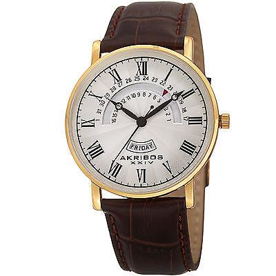 New Men's Akribos XXIV AK898YG Classy Day & Date Silver Dial Brown Leather Watch