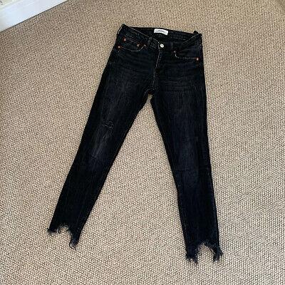 ZARA Ladies Black Grey Distressed Ripped Jeans Size 38 UK 10