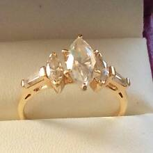 Diamonique Jewellery **14ct Gold with 3 Diamond & 2 Marquise Gems Ferryden Park Port Adelaide Area Preview
