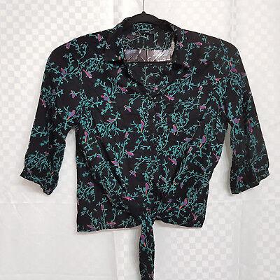 Ladies M&Co Button-Down Shirt Black Birds Front Tied Collar Plus Size 18 VGC