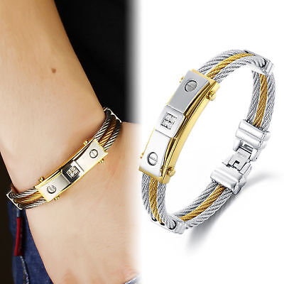 """Men's Fashion Stainless Steel CZ Silver Gold Cable Charm Bracelet Bangle 8.66"""""""
