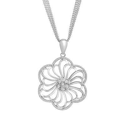 1/8 ct Diamond Open Flower Pendant in Sterling - Diamond Open Flower Pendant