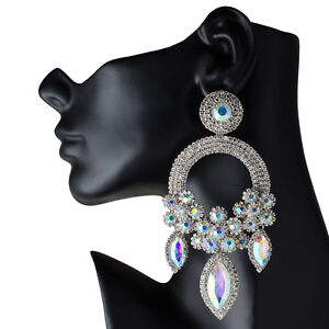 fc608670a Drag Queen Huge AB Chandelier Earrings Stage Pageant Bridal Costume Jewelry