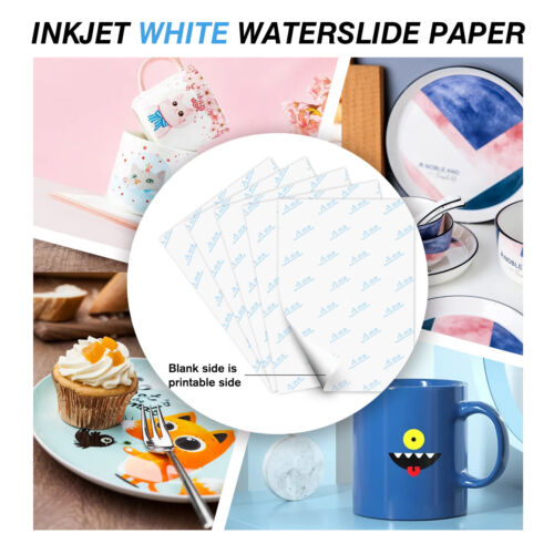 A-SUB Waterslide Decal Paper WHITE for Inkjet 5 Sheets 8.5x11 Water Slide Decor
