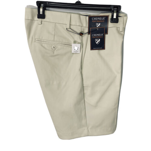 """Cremieux Mens Performance Atwood Khaki Shorts 40 Flat Front 9"""" $69 Golf Stone Clothing, Shoes & Accessories"""