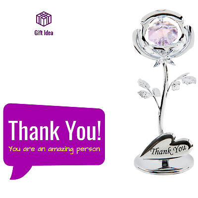 Genuine Swarovski Crystal Sentimental Friendship Thank You Rose Gift Ornament ()
