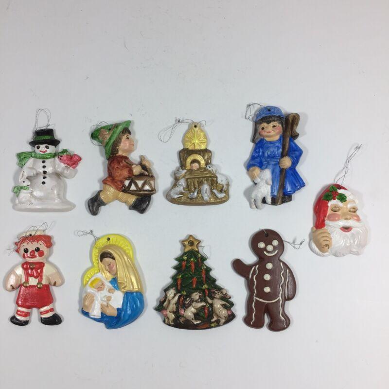 9 Vintage Hand Painted Christmas Ornaments Ceramic Lot Santa Tree Snowman Ginger