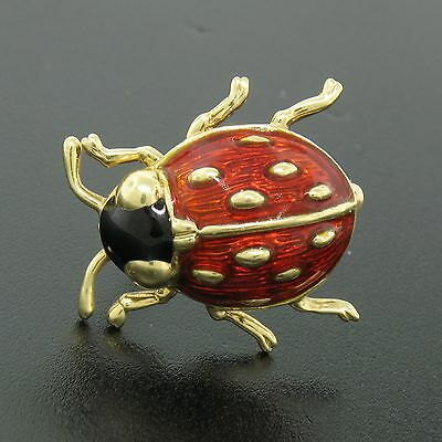 Estate Detailed 14k Solid Yellow Gold Black and Red Enamel Ladybug Brooch Pin