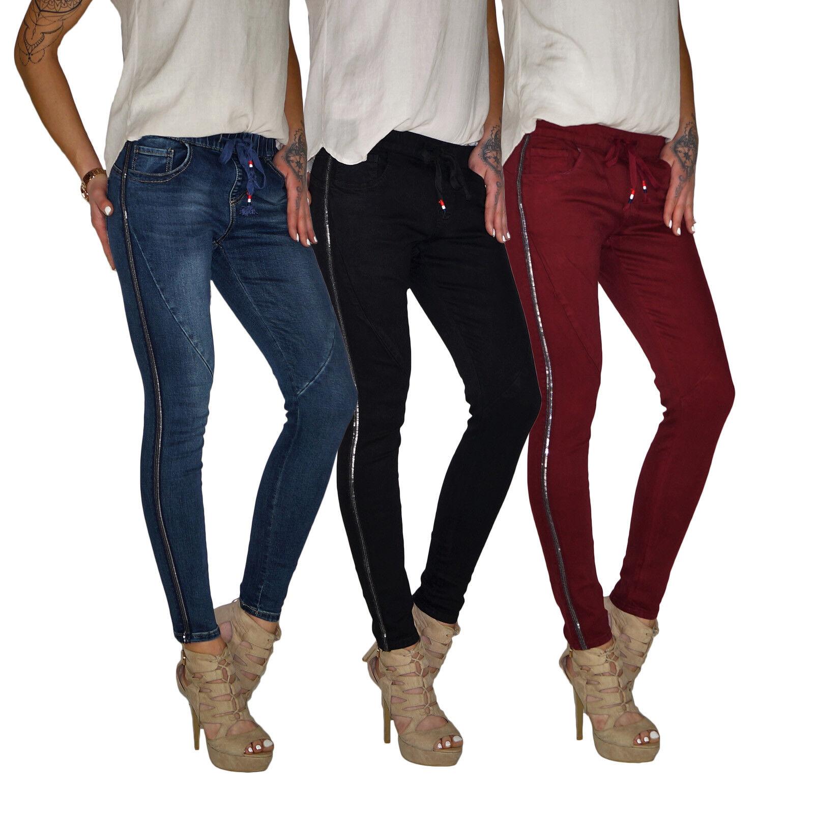 Damen Boyfriend Röhren Jeans Hose mit Seitenstreifen Gallonstreifen E198