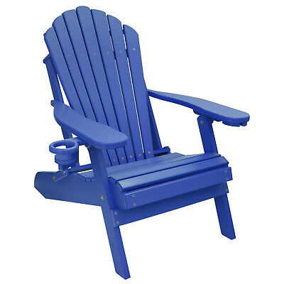 Deluxe Outer Banks Poly Folding Adirondack Chair w/ Cup & Smart Phone Holder
