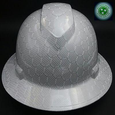 Full Brim Hard Hat Custom Hydro Dipped New White Hex Carbon Fiber Hot